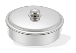 Round baking oven tray with lid, Stainless Steel knob